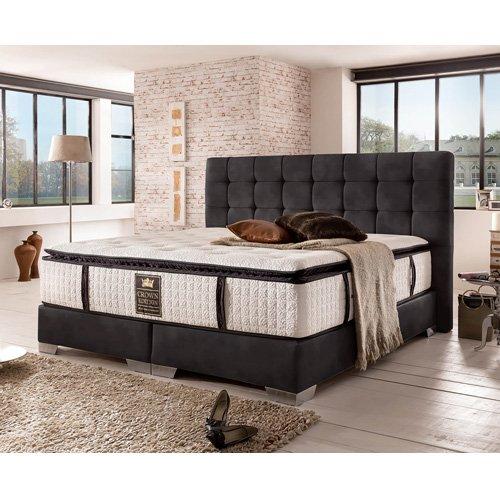 Cama con somier Cama London Deluxe (200 x 200, Color negro)